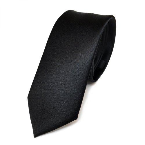 TigerTie schmale Satin Krawatte in schwarz black Uni Einfarbig - Binder Schlips