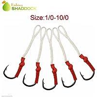 Shaddock pesca® 20Confezione da 50, Sharp Jij Jigging Assist Ganci in acciaio inox per pesca ganci ami con bianco PE Linea, 2/0-20PCS