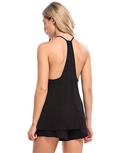 Avidlove Nachtwäsche Set Damen Sexy Schlafanzüge Modal Kurz Träger Nachthemd Soft Pyjama Sleepwear Solid Top mit Shorts Stil 2: Schwarz