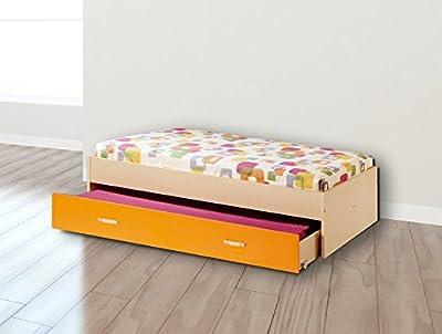 Cama nido desplazante juvenil Vento cama inferior, economica, color haya y naranja