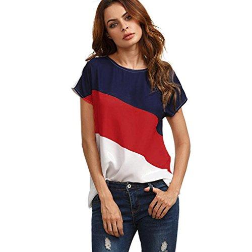 Neuer Streifen Hemd Damen, DoraMe Frauen Farbblock Chiffon Shirt Kurze ärmel Lässige Bluse Sommer O-Ausschnitt T-shirt (Rot, Asien Größe S) (T-shirts Muster Streifen)