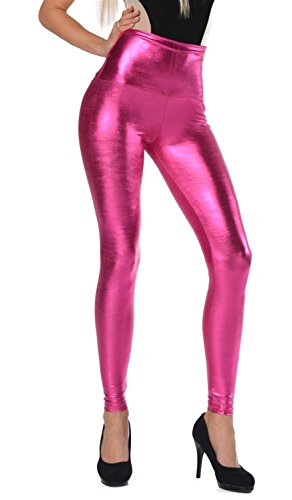 AE Damen Leggings Wet-Look schwarz Silber Gold pink grau Glanz Legings Gr. S M L XL 2XL 3XL 4XL, p904 Pink 3XL/46