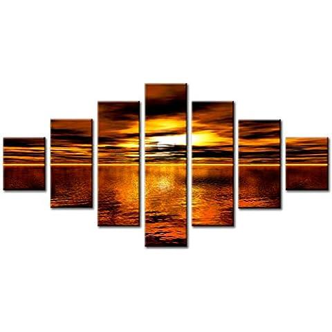 Lynxart 7 Panel, in totale, 160 x 90 cm, colore: brandy in tela, arte digitale, astratto, colore: arancione