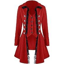 Runyue Femme Casual Rétro Manteau Long Steampunk Gothique Médiéval Veste  Renaissance Costume 4fd6158e408