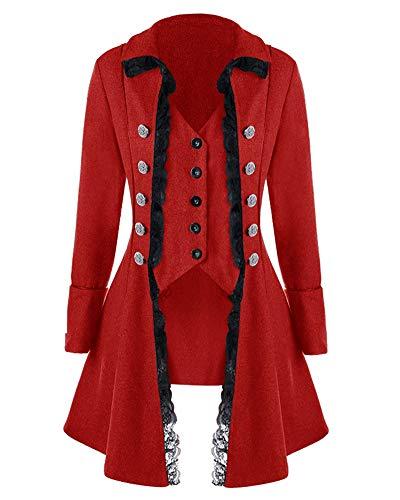 Runyue Damen Mittelalterliches Vintage Frack Jacke Gothic Unregelmäßig Steampunk Mantel Coat Uniform Kostüm Burgunderrot XL