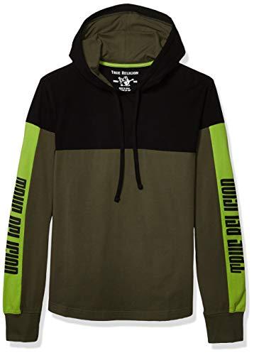 True Religion Herren Long Sleeve Paneled Pullover Hoodie Kapuzenpulli, grün/schwarz, XX-Large
