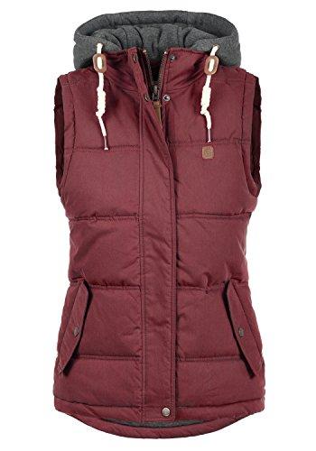 Baumwoll-nylon-weste (DESIRES Lewonda Damen Steppweste Übergangsweste mit Kapuze aus hochwertiger Baumwollmischung, Größe:M, Farbe:Wine Red (0985))