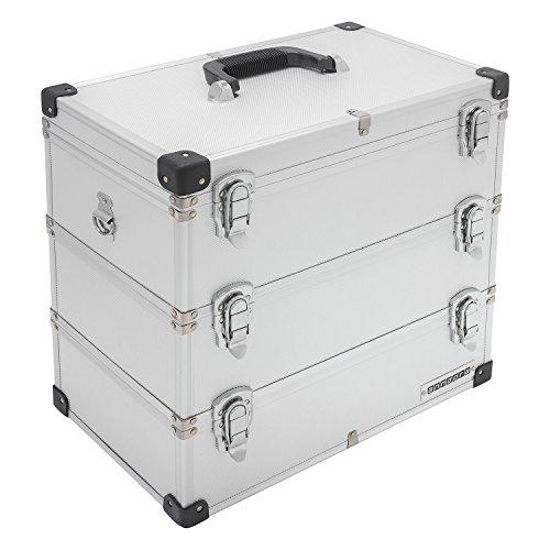 anndora® Werkzeugkoffer 32 Liter Angelkoffer Etagenkoffer 3 Ebenen Silber Alu