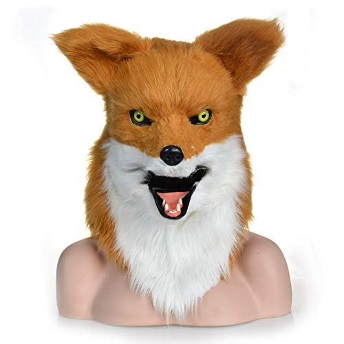 Kostüm Mover - Hochwertige Materialien Animal Furry Mask Lebensechte Tiermasken Mouth Mover Halloween Zwei Farben Fox Scary Kostüm Maske Kopf Hals Tiermasken Tierhalsmaske (Color : Two-Tone)