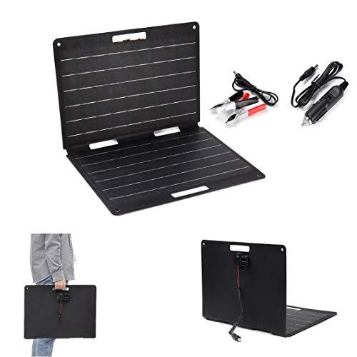 ZhanPing Mini Solar-Panels, Hochwertige tragbare Faltbare Solarpanel-Batterietasche mit Kabeln for Arbeiten im Freien 60W 18V 3.3A