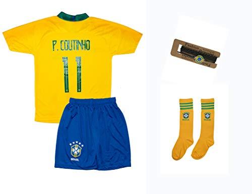 Brasilien Coutinho #11 2018 Heim Trikot und Shorts mit Socken und Wickel Armband Kinder und Jugend Größe