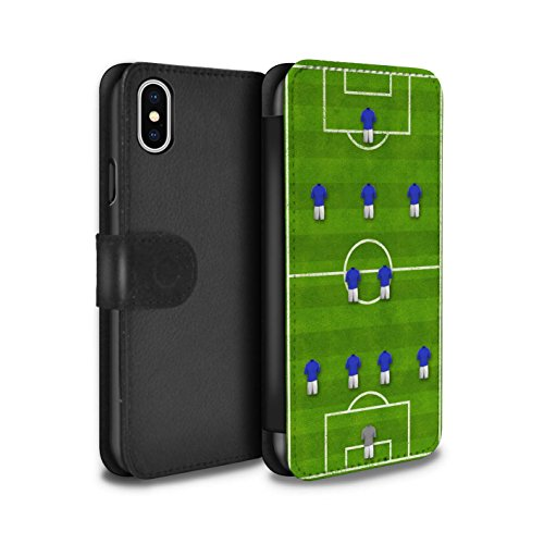 Stuff4 Coque/Etui/Housse Cuir PU Case/Cover pour Apple iPhone X/10 / 4-4-2/Blanc Design / Formation Football Collection 4-2-3-1/Bleu
