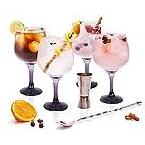 Stylehome Set Gin Tonic con 4 Copas de Balón, 1 Vaso Dosificador, 1 Cuchara...