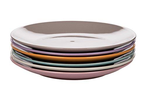 Kaleidos Mi x Match Set 6 Piatti Piani, Stoneware (Gres), Avorio/Rosa/Azzurro Arancio/Lilla/Beige, 27 x 27 x 10 cm