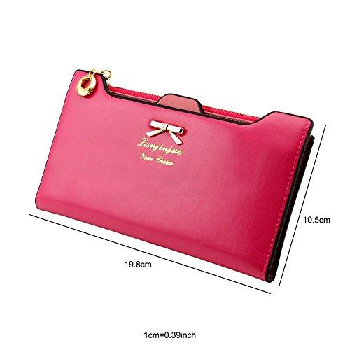 41zpPkpP6HL - CHIC-CHIC Women Vintage Clutch Wallet Button Card Holder Lady Long Handbag Bag Case Purse (Rose)