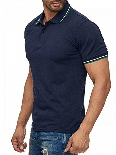 Herren Uni Kurzarm Kontrast Poloshirt mit Kragen Basic COLLEGE FEVER H1923 Dunkelblau