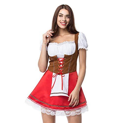 Frauen Bauern Kostüm - Frauen Oktoberfest kostüm t bayerischen Dirndl Maid Bauer Rock Dress Party weiblich Oktoberfest Dress,Red,XXXL