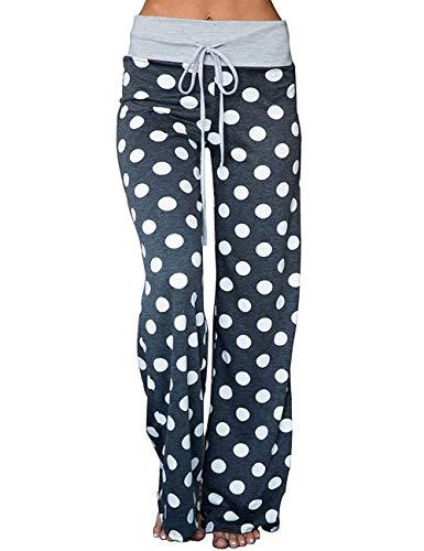 INSTINNCT Damen Pyjama mit Kordelzug und Blumenmuster, bequem, Stretch, Palazzo Loungehose mit breitem Bein Gr. L, grau - Petite-weites Bein