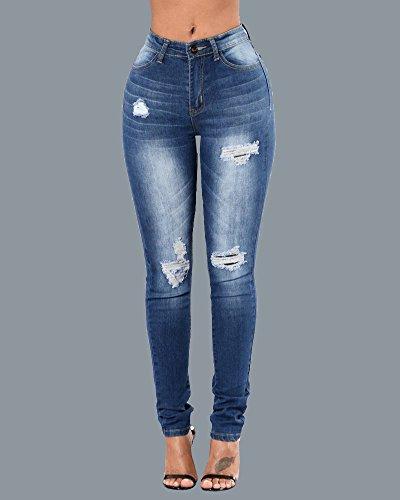 Pantalons Femme Skinny Denim Taille Haute Jeggings Collants Bleu Crayon Déchirés Jeans Comme image