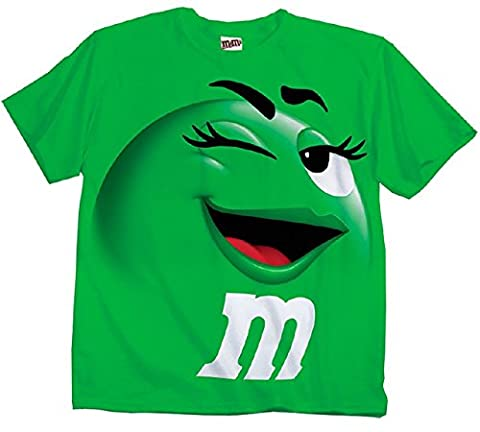 M&M's Candy Silly Character Face T-Shirt (Green-Adult XL)