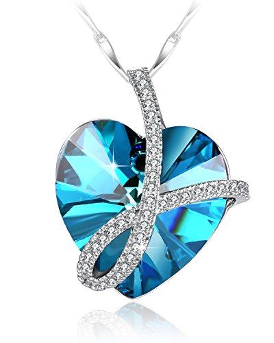 Ti amerò per sempre collane argento donna con cuore cristalli swarovski anhänger pendente, regali anniversario per lei, non aspettare per san valentino per fare qualcosa di speciale! 46cm