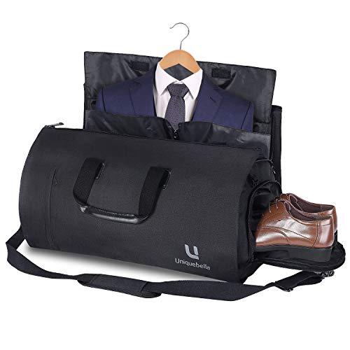 Uniquebella Anzugtasche, Kleidersack Reisetasche Anzugsack Umhängetasche für Herren,Flugzeug, Reisen, Bussiness,Fitness Anzug Garment Gym Bag, Sporttasche für Männer Schwarz
