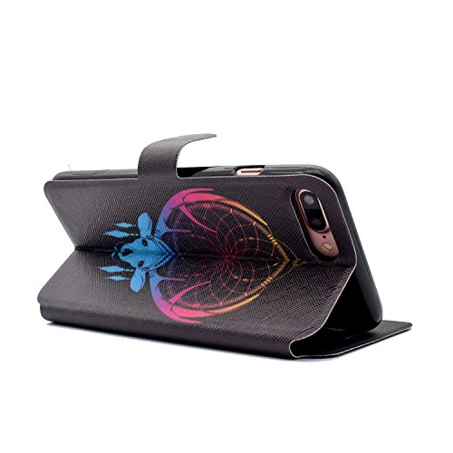 Coque iPhone 7 Plus, ocketcase® Housse Étui en PU Cuir Portefeuille Flip Cover avec Fermeture Magnétique et Support Fonction Housse Case pour iPhone 7 Plus - renard Antlers