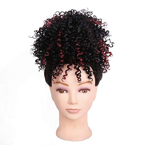 (Wig Curly, Wig Rooted Black Ombre, Women es Heat Resistant Full Curl Wig Short Wavy Layered Natural Hairline Rock Music Festival, Halloween,#1B/Bug)