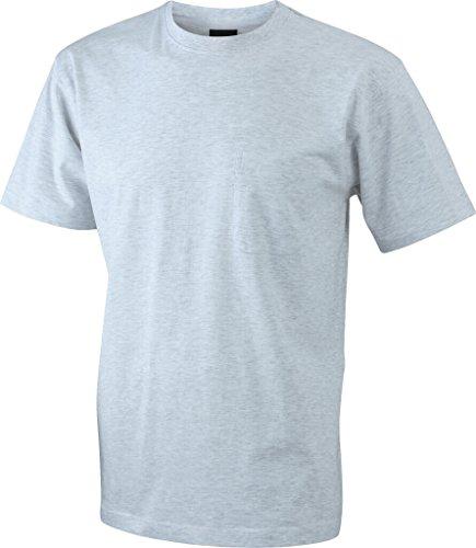 JAMES & NICHOLSON Klassisches T-Shirt mit Brusttasche Ash