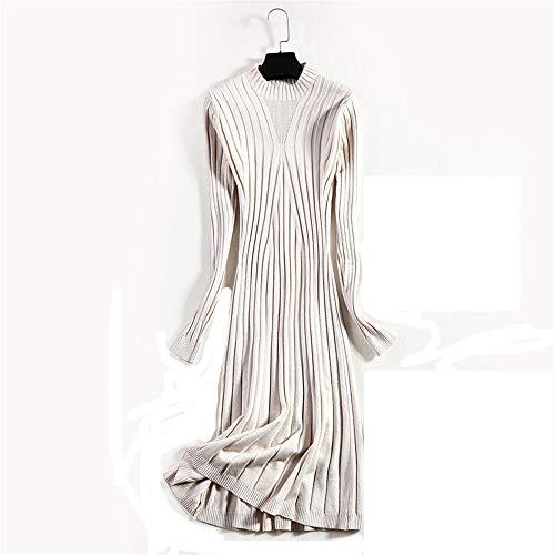 Wuxingqing Vintage Swing Partykleid für Damen Frauen Rundhalsausschnitt Langarm Winter Strickkleid Kleid Pure Color Sweater Slim Retro Damen Abendkleid (Farbe : ()