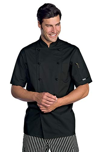Kochjacke Kochbekleidung schwarz kurzarm mit Kockjackenknöpfe Größe L
