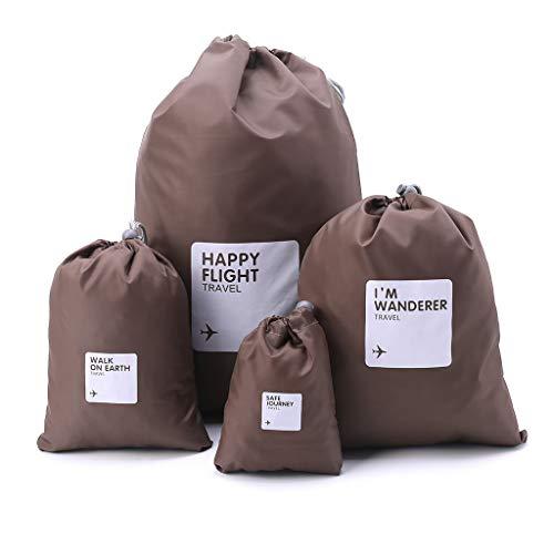 Cansenty - Juego de 4 bolsas de nailon impermeables con cordón, para viajes, zapatos, ropa,...