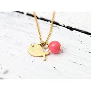 Zierliche Gold-Kette mit Fisch und Koralle / süßer Fisch-Anhänger gold: Zarte, vergoldete 925er Sterlingsilber-Kette mit Gold-Fisch und Koralle-Perle in pink