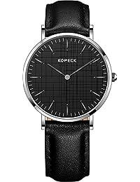 Kopeck de la mujer relojes inoxidable reloj ultrafino de acero simple analógica esfera negra