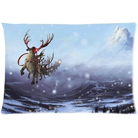 1croninoutletart nuovo anno neve Inverno slitta renne volanti federe per cuscino montagne del castello 50,8 cm x 76,2 cm, un lato stampa - Volante Slitta