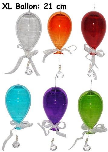 Unbekannt 5 TLG. Set: XL Luftballon - 21 cm - aus Glas - zum Aufhängen & Dekorieren - Ballons - türkis / grün / lila / weiß / gelb / rot / orange / pink / blau / pink -..