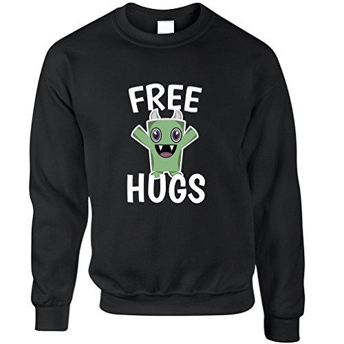 Free Hugs mostro simpatico diffondere l'amore Festival Hippy Coccole Felpa Black