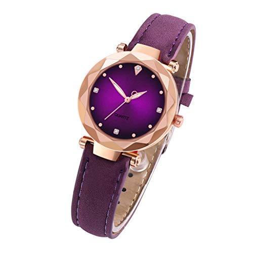 Skryo Luxusuhren Quarzuhr Edelstahl Zifferblatt Casual Armband Uhr (Lila)