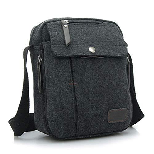Mali Freizeit Umhängetasche Canvas Tasche Multi-Tasche Umhängetasche Herren Tasche Im Freien Multifunktional Reisetasche,Black