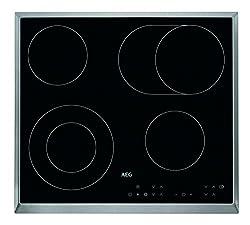 AEG HK634060XB Autarkes Glaskeramik-Kochfeld / Strahlenbeheizt / 60 cm / Edelstahlrahmen / 4 Kochzonen / Bräterzone / Mehrkreiskochzone / Kindersicherung