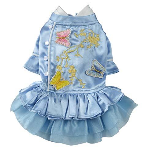 F Fityle Hundekleid Sommerkleid Stickerei Prinzessin Kostüm Hund Welpen Kleidung Bekleidung - Blau, L -