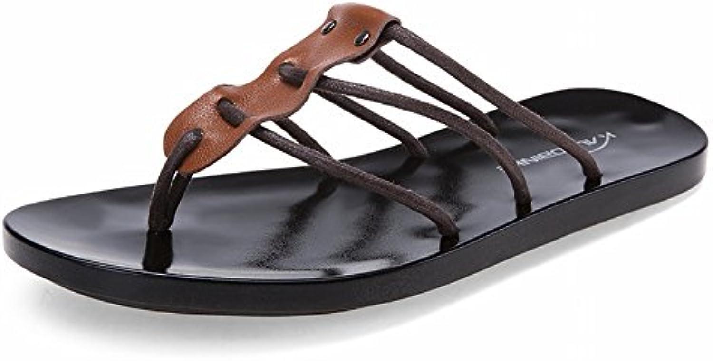 Mode Leder Flip Flop Komfort All Match Sandalen Rutschfeste Verschleiß Hausschuhe