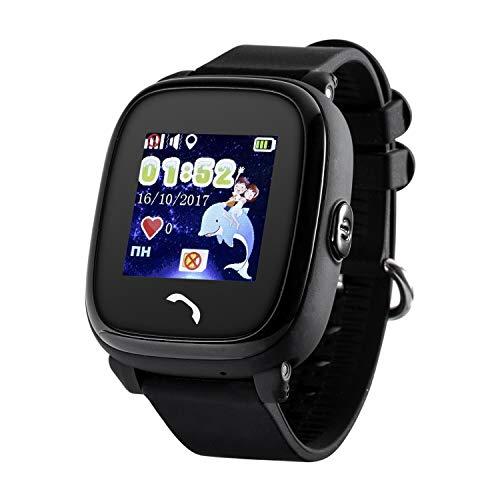 JBC GPS-Telefon Uhr - Modell 2019 - Kleiner Pirat - Wasserdicht OHNE Abhörfunktion, für Kinder, SOS Notruf+Telefonfunktion, Live GPS+LBS Positionierung, funktioniert weltweit, (Schwarz)