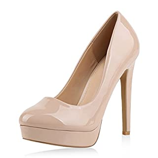 napoli-fashion Damen Pumps High Heels Plateaupumps Lack Stiletto Elegante Schuhe Nude Beige 39 Jennika