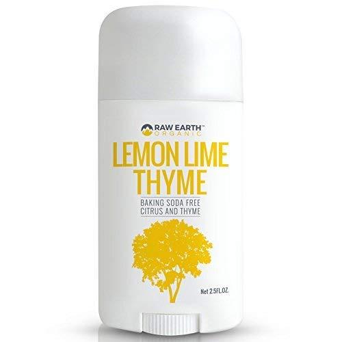 Raw Earth Organic All Natural Vegan Magnesium Deodorant - Baking Soda & Aluminum Free - Lemon/Lime/Thyme (2.5oz) - Raw Earth