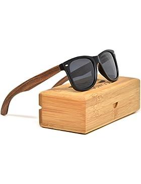 Gafas de sol de madera de nogal estilo Wayfarer para hombre y mujer con frontal negro mate y lentes polarizadas...