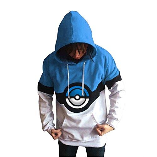 Plus size Pokemon felpa con cappuccio unisex blu, maglione, Jumper, causale Wear Fancy Dress taglia XL