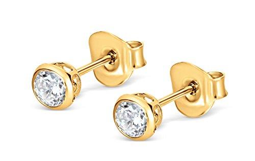 Isabella Silver Ohrstecker - 925 Sterling Silber - Vergoldetes (Cz Stud Ohrringe Sterling Silber)