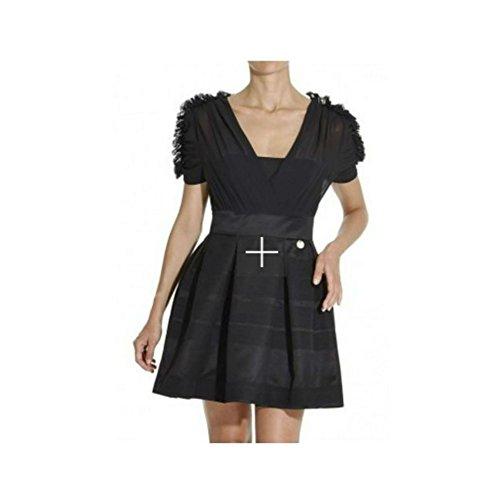 Abito Mangano modello Mony vestito nero con gonna ampia