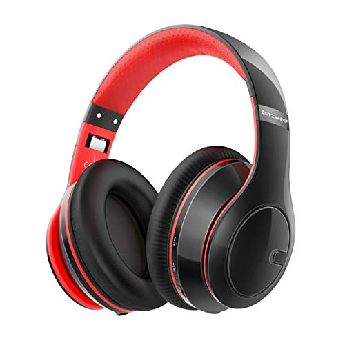 Bluetooth Kopfhörer, BlitzWolf Bluetooth 4.1 faltbar Wireless Stereo Headset drahtlose Kopfhörer Ohrhörer On Ear mit Mikrofon + Dual-Kanal Stereoanlage für TV/PC/Smartphones(Rot & Schwarz) - Bluetooth-headset, Tv